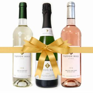 Christmas Wine Package from Tuffon Hall, including 1 bottle of White, 1 of Pinot Noir, and 1 Classic Sparkling white